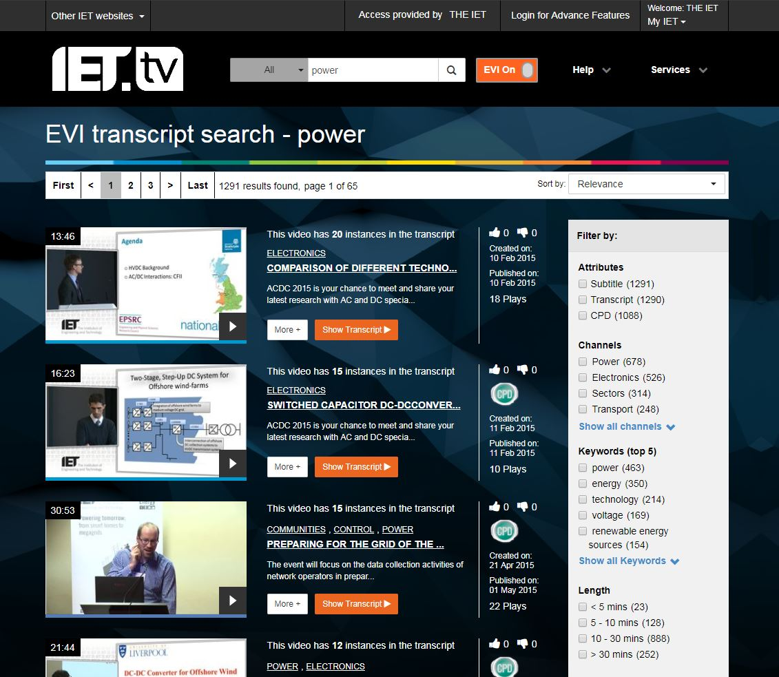 Rapid TV News - IET tv claims first of its kind video search