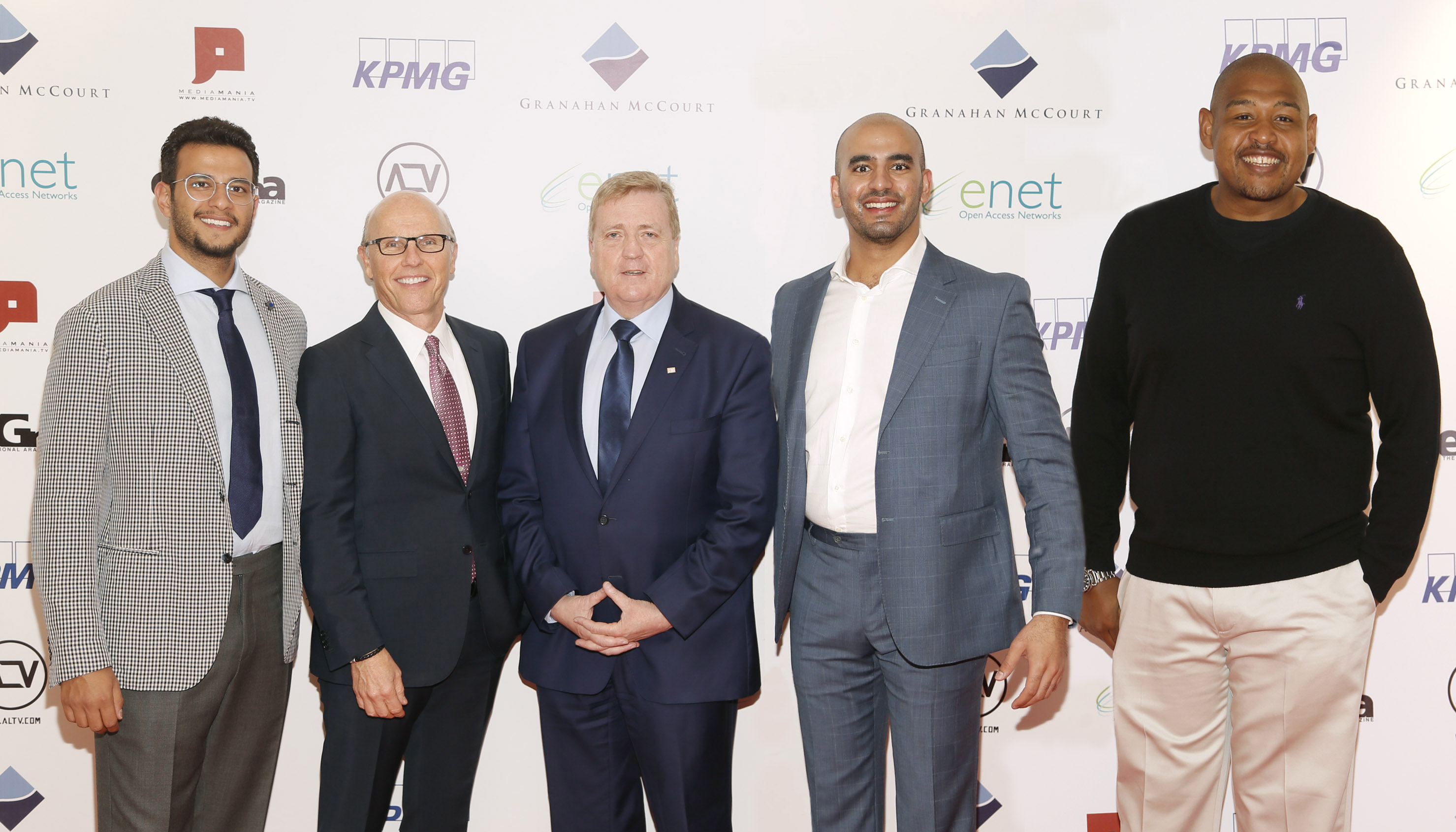 David McCourt chairman and CEO of Granahan McCourt Minister Pat Breen TD Prince Bandar Al Saud and Hollywood actor Omar Miller at the launch of ALTV